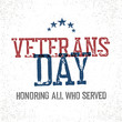 Veterans day. Honoring all who served. Typographic design in vin