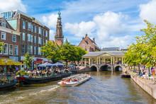 New Rhine Canal, Town Hall Tower And Koornbrug Bridge, Leiden, Netherlands