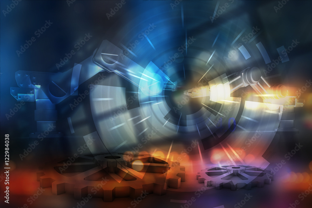 Industrial 4.0 Cyber Physical Systems concept , Gears , automation robot with abstract background