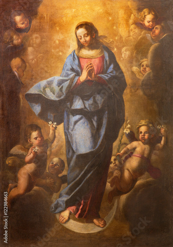 ROME, ITALY - MARCH 10, 2016: The painting of Immaculate Conception ih church Basilica di San Marco by Pier Francesco Mola (1612 - 1666) Poster