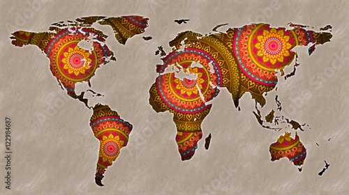 World Map Mandala Buy This Stock Illustration And Explore Similar - Mandala map of the world