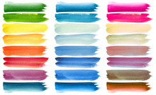Set Of Colorful Watercolor Bru...