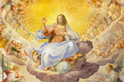 Fotografie, Obraz ROME, ITALY - MARCH 11, 2016: The fresco of Christ the Redeemer in Glory with the Heavenly Host by Niccolo Circignani Il Pomarancio (1588) in main apse of church Basilica di Santi Giovanni e Paolo
