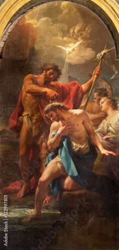 Fotografie, Obraz ROME, ITALY - MARCH 12, 2016: The paintin Baptism of Christ in church Chiesa di Santa Maria dell Orto by Corado Giaquinto (1750)