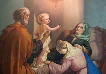 BRESCIA, ITALY - MAY 21, 2016: The painting of Death of st. Ann in church Chiesa di San Zeno al Foro by Luigi Campini (1857).