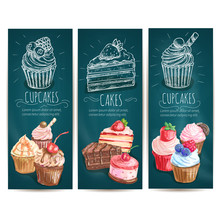 Cupcakes, Cakes Pastries Desserts Banners