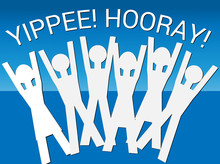 Hooray! Yippee! (Vector) An Illustration Of Human Figures In A Celebratory Mood With The Words Hooray! Yippee! Above Them