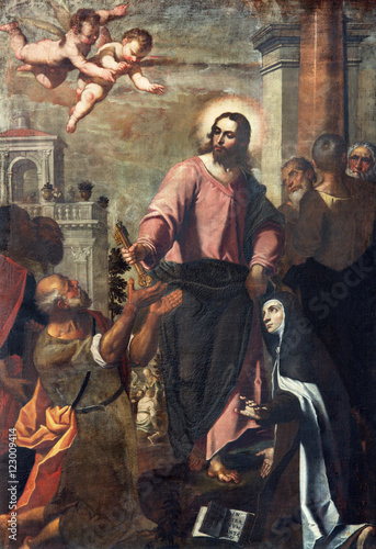 BRESCIA, ITALY - MAY 22, 2016: The painting Jesus consigning the keys to Peter and St Poster