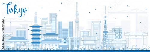 Photo  Outline Tokyo Skyline with Blue Buildings.