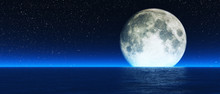 Rising Moon Over Sea.