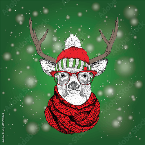 Christmas card with deer in winter hat. Merry Christmas lettering design. Vector illustration