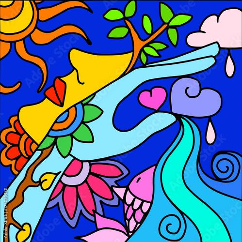 Foto op Canvas Klassieke abstractie background with blue hand
