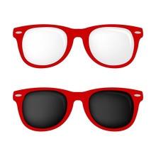 Hipster Red Color Glasses And Sunglasses Isolated Vector Set
