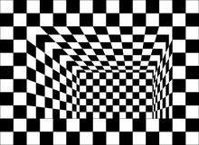 Black And White Chessboard Walls Room