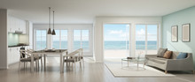 Sea View Living Room, Dining Room And Kitchen, Beach House - 3D Rendering