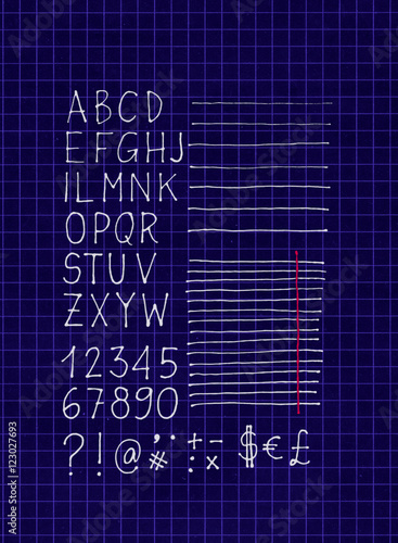 2d white pen freehand letters numbers lines and symbols on 2d white pen freehand letters numbers lines and symbols on blueprint squared paper malvernweather Choice Image