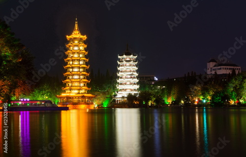 Foto op Canvas Guilin Two towers landmark of Guilin China