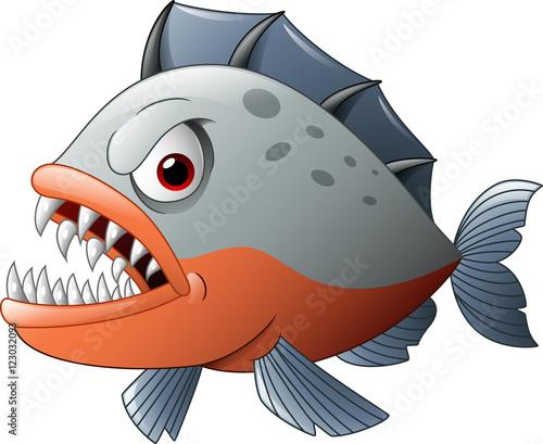 Obraz na plátne Angry piranha cartoon