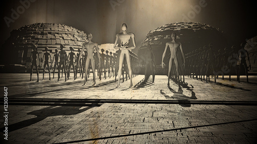 Photo  Alien Army Reveal behind Space Station Gate Vintage