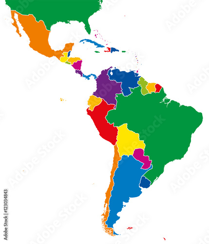 Latin America single states map. All countries in different ...