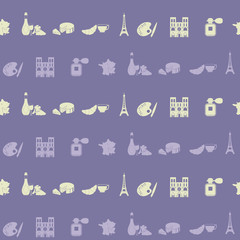 Tapeta Seamless pattern with french icons for your design