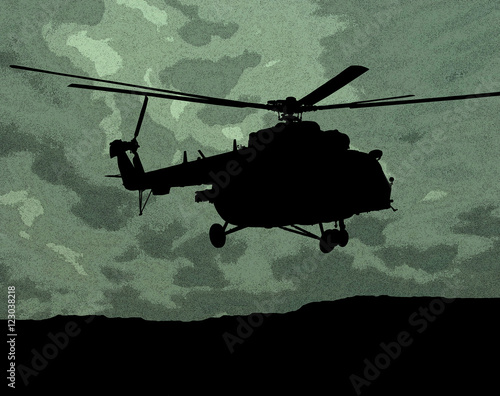Fotografering  MI-17 helicopter on the green camouflage background