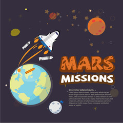 Mission to Mars concept - vector illustration