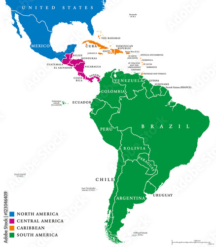 Latin America regions political map. The subregions Caribbean, North ...