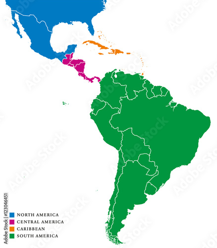 Latin America subregions map. The subregions Caribbean, North ...