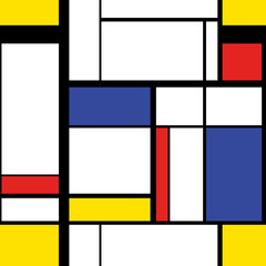 Panel Szklany Popularne Modern painting in mondrian style, seamless pattern