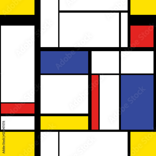 Modern painting in mondrian style, seamless pattern Wallpaper Mural