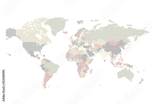 Papel de parede  Dotted World map of square dots