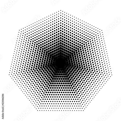 Vector Heptagon Halftone Geometric Shapes Dot Design