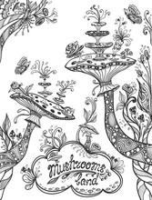 Fantasy Illustration Mushrooms Land In Zen Doodle Style Black On White