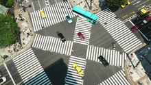 Tokyo - Aerial View Of Junction With Traffic And People On Crosswalk. 4K Resolution Time Lapse Zoom In. Ginza. May 2016