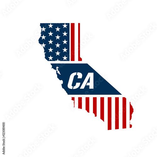 California Patriotic Map. Vector Graphic Design Illustration