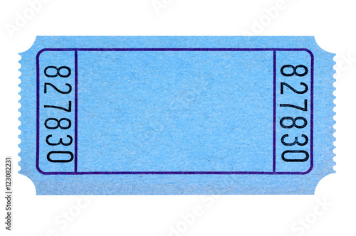 Cuadros en Lienzo Blank blue movie or raffle ticket isolated on white background.