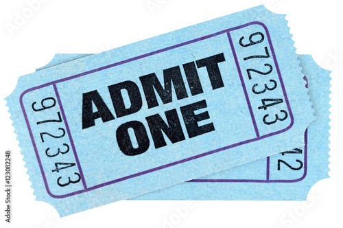 Two blue admit one movie tickets isolated on white background.