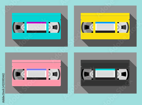 Valokuva  set of vintage video tape cassettes in 1980s colors