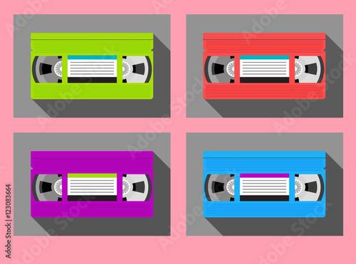Fotografering  set of vintage video tape cassettes in 1980s colors