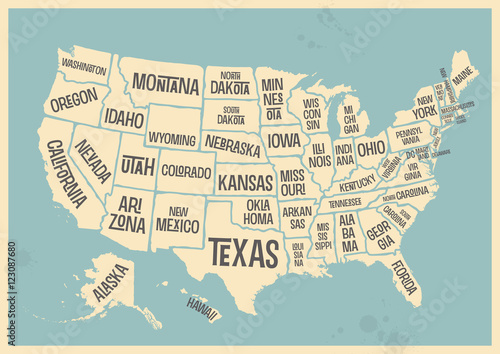 Photo  retro style poster with map of the USA with federal states, vintage typography -