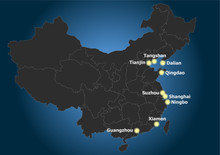 China PR Main Port Cities Distribution And Position