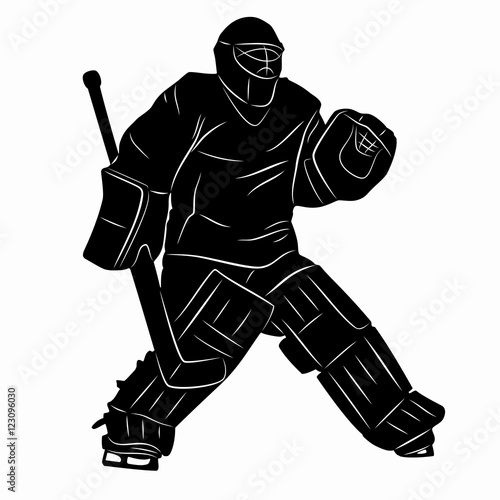 Silhouette Of A Hockey Goalie Vector Drawing Buy This Stock