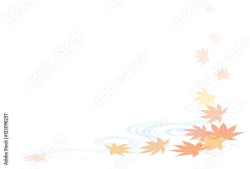 Fotografía  紅葉と流水文様 日本の秋の風景