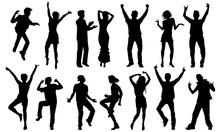 Black And White Dancing Silhouettes, Vector Set