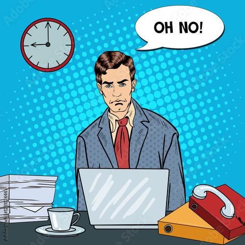 pop-art-podkreslil-biznesmen-z-laptopem-w-pracy-wielozadaniowej-ilustracji-wektorowych
