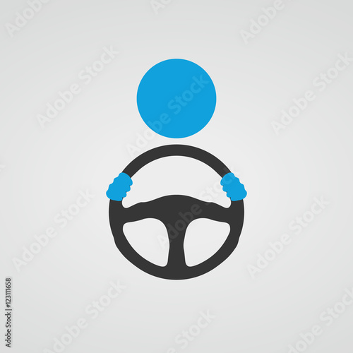 Steering wheel icon. Vector. Fotobehang