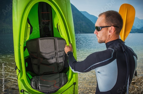 Valokuva  Sportsman with His Kayak