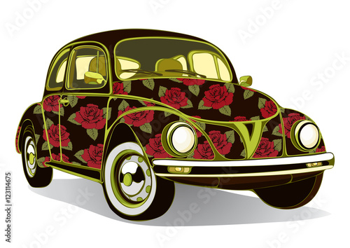 Vintage Car Decorated With Roses Retro Floral Cartoon Cars