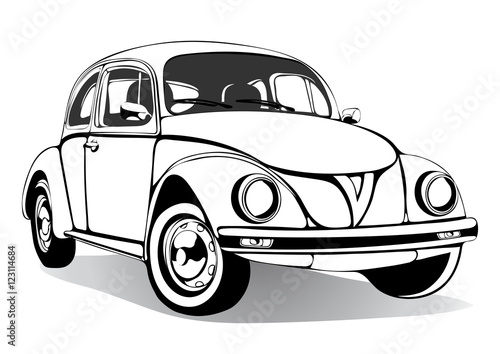 Staande foto Cartoon cars Vintage car sketch, coloring book, black and white drawing, monochrome. Retro cartoon transport. Vector isolated illustration